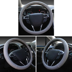 SEG Direct Gray Microfiber Leather Auto Car Steering Wheel Cover