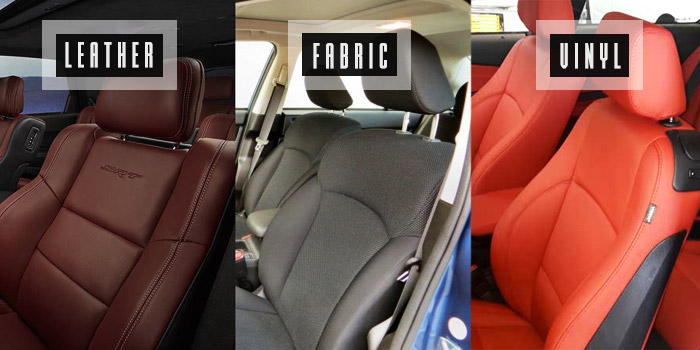 car upholstery materials: leather, fabric and vinyl