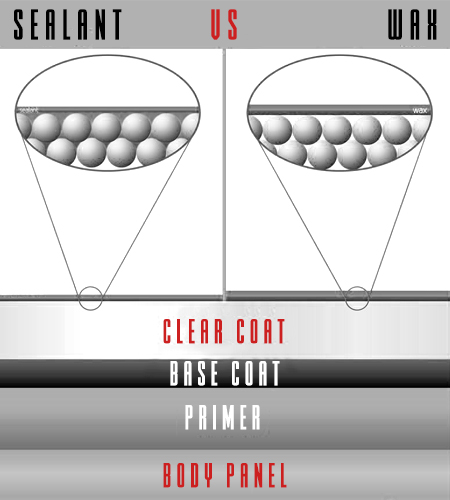 car sealant vs car wax diagram