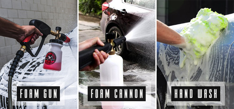 foam cannon vs foam gun vs hand wash