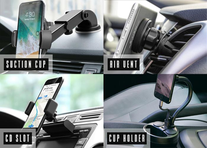 4 different types of car phone mount