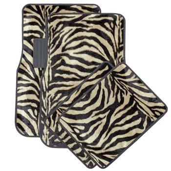 OxGord 4-Piece Zebra Print Carpet Floor Mats Set