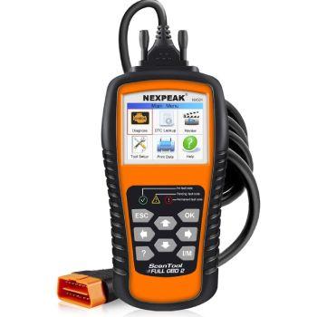 NEXPEAK OBD2 Scanner Orange-Black Color Display with Battery Test Function